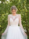 Scoop Neck A-line Sweep Train Satin Tulle Appliques Lace Wedding Dresses #DOB00021482