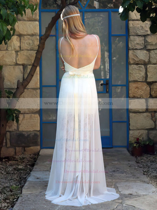 V-neck A-line Sweep Train Chiffon Appliques Lace Wedding Dresses #DOB00021483