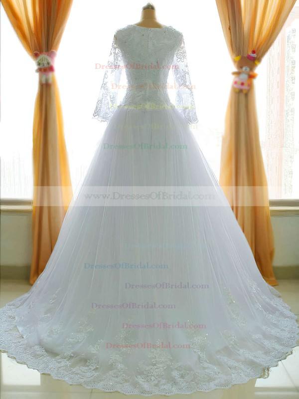 Square Neckline Princess Chapel Train Lace Satin Tulle Appliques Lace Wedding Dresses #DOB00021485