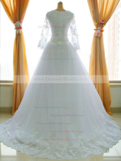 Square Neckline Princess Chapel Train Lace Satin Tulle Appliques Lace Wedding Dresses #DOB00021485