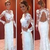 Scoop Neck A-line Floor-length Lace Satin Tulle Appliques Lace Wedding Dresses #DOB00021487