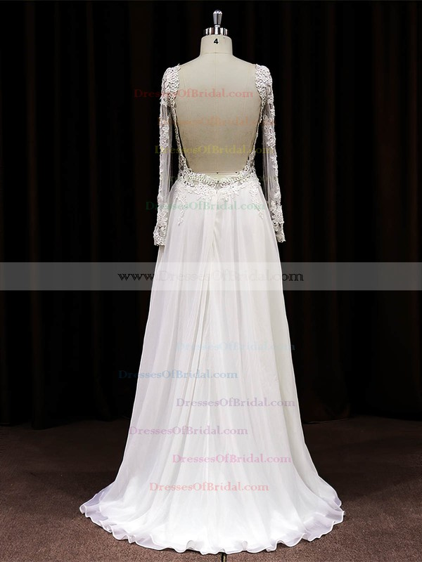 Scoop Neck A-line Sweep Train Tulle Chiffon Appliques Lace Wedding Dresses #DOB00021488