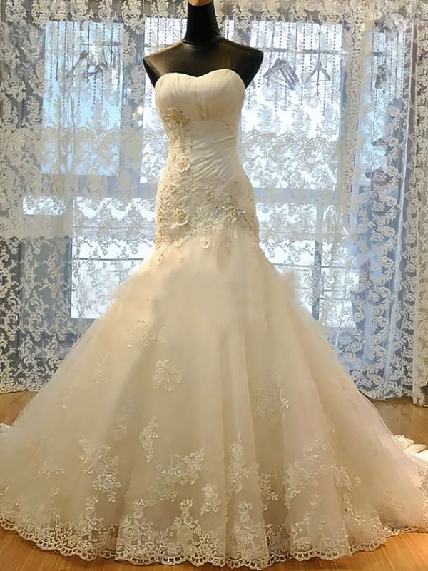 Sweetheart Trumpet/Mermaid Court Train Satin Tulle Lace Wedding Dresses #DOB00021489