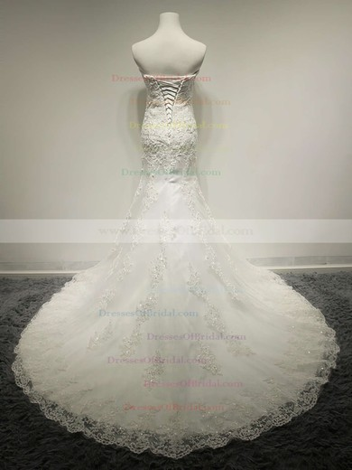 Sweetheart Trumpet/Mermaid Court Train Lace Satin Lace Wedding Dresses #DOB00021491