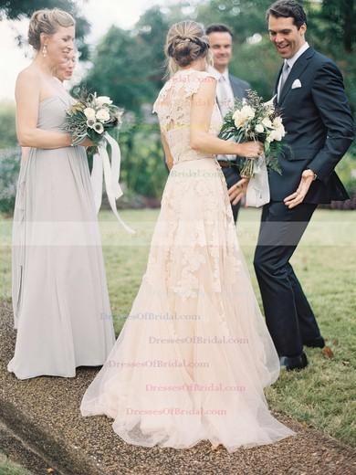 V-neck A-line Sweep Train Satin Tulle Ruffles Wedding Dresses #DOB00021495