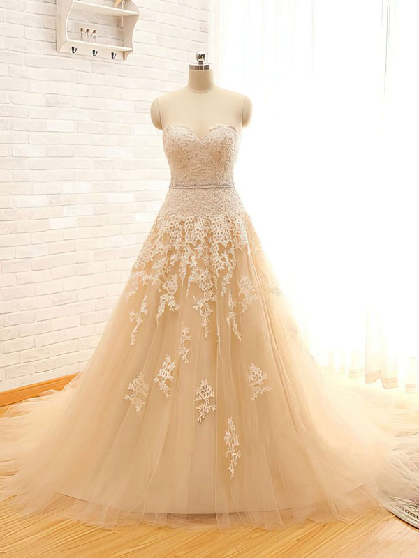 Sweetheart Ball Gown Chapel Train Satin Tulle Beading Wedding Dresses #DOB00021496