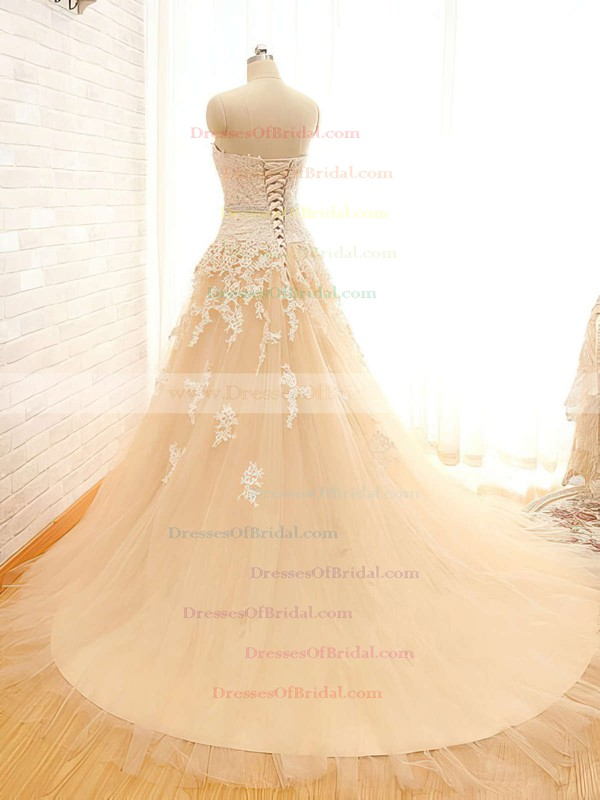 Sweetheart Ball Gown Chapel Train Satin Tulle Beading Wedding Dresses #DOB00021496