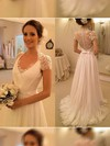 V-neck A-line Sweep Train Chiffon Tulle Appliques Lace Wedding Dresses #DOB00021497