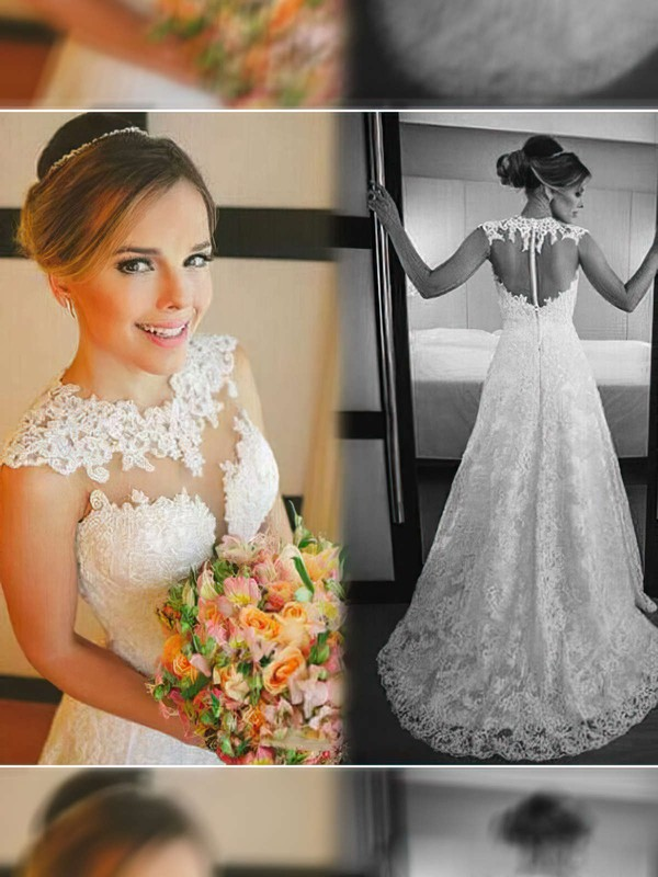 Scoop Neck A-line Court Train Lace Satin Tulle Appliques Lace Wedding Dresses #DOB00021498