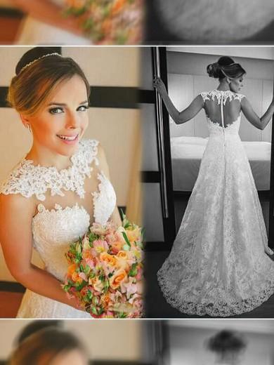 Scoop Neck A-line Court Train Lace Satin Tulle Appliques Lace Wedding Dresses #DOB00021498