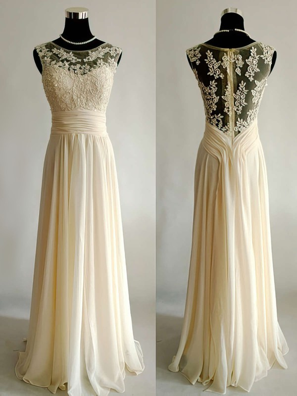 Scoop Neck A-line Floor-length Chiffon Tulle Appliques Lace Wedding Dresses #DOB00021499