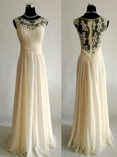 Scoop Neck A-line Floor-length Chiffon Tulle Appliques Lace Wedding Dresses #DOB00021499