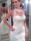 High Neck Trumpet/Mermaid Floor-length Lace Satin Tulle Appliques Lace Wedding Dresses #DOB00021502