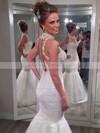 High Neck Trumpet/Mermaid Floor-length Lace Satin Tulle Appliques Lace Wedding Dresses #DOB00021502
