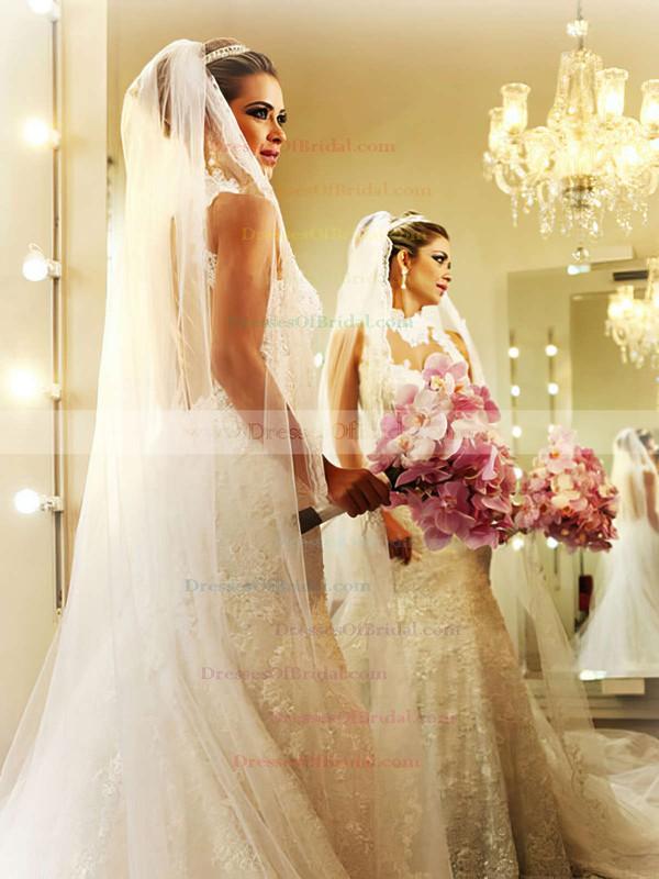 High Neck Trumpet/Mermaid Chapel Train Lace Satin Tulle Appliques Lace Wedding Dresses #DOB00021503