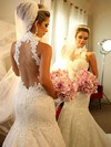 High Neck Trumpet/Mermaid Chapel Train Lace Satin Tulle Appliques Lace Wedding Dresses #DOB00021503