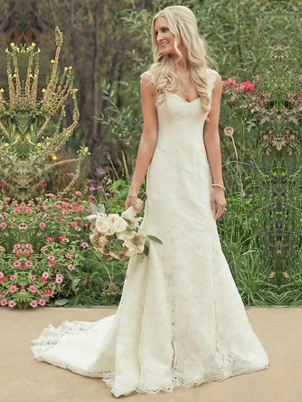 Sweetheart A-line Court Train Lace Satin Appliques Lace Wedding Dresses #DOB00021504
