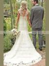 Sweetheart A-line Court Train Lace Satin Appliques Lace Wedding Dresses #DOB00021504