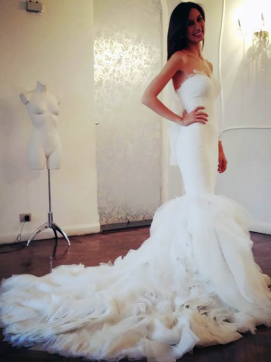 Sweetheart Trumpet/Mermaid Chapel Train Organza Tiered Wedding Dresses #DOB00021505