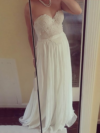 Sweetheart A-line Floor-length Chiffon Lace Wedding Dresses #DOB00021507