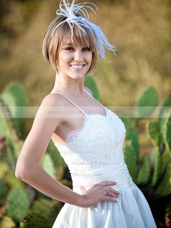 Sweetheart A-line Tea-length Satin Appliques Lace Wedding Dresses #DOB00021508