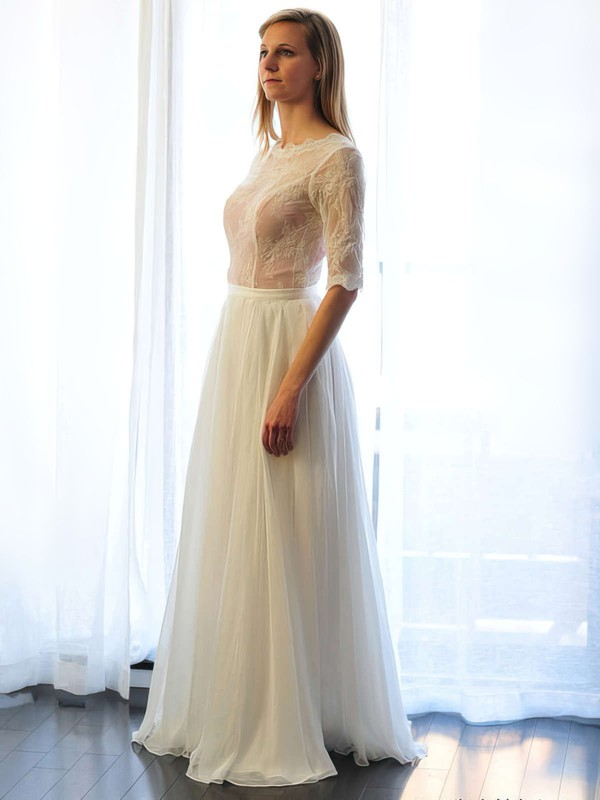Scoop Neck A-line Floor-length Lace Chiffon Appliques Lace Wedding Dresses #DOB00021511