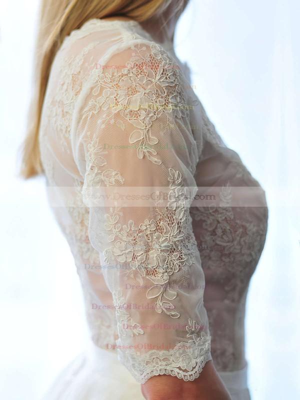 Scoop Neck A-line Floor-length Lace Chiffon Appliques Lace Wedding Dresses #DOB00021511