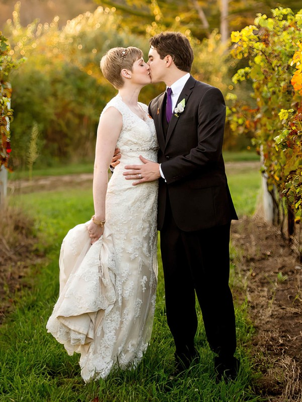 Scalloped Neck A-line Court Train Lace Satin Beading Wedding Dresses #DOB00021512