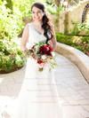 V-neck A-line Court Train Lace Satin Lace Wedding Dresses #DOB00021513