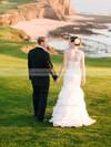 Sweetheart Trumpet/Mermaid Sweep Train Satin Organza Tiered Wedding Dresses #DOB00021515