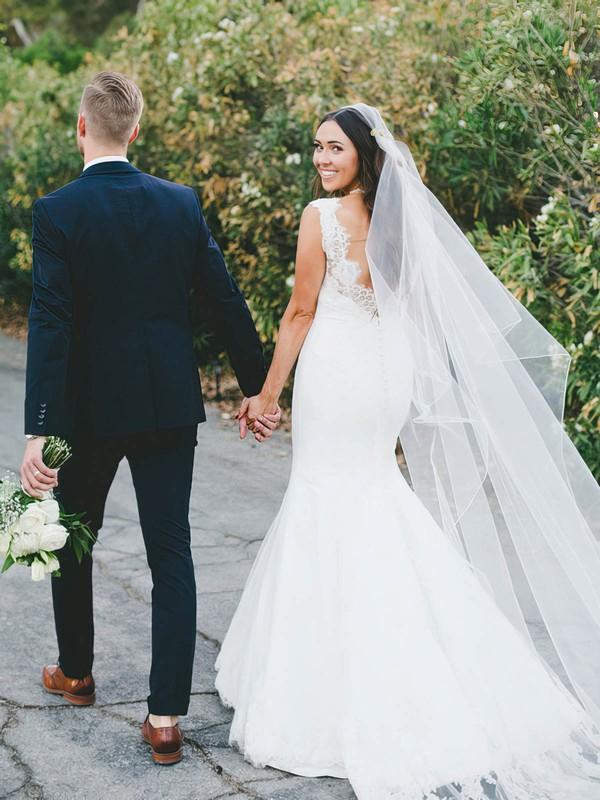 Sweetheart Trumpet/Mermaid Sweep Train Lace Satin Appliques Lace Wedding Dresses #DOB00021517