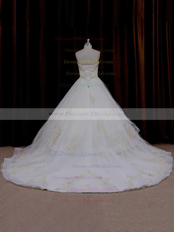 Online Ivory Tulle Appliques Lace Sweetheart Chapel Train Wedding Dresses #DOB00021632