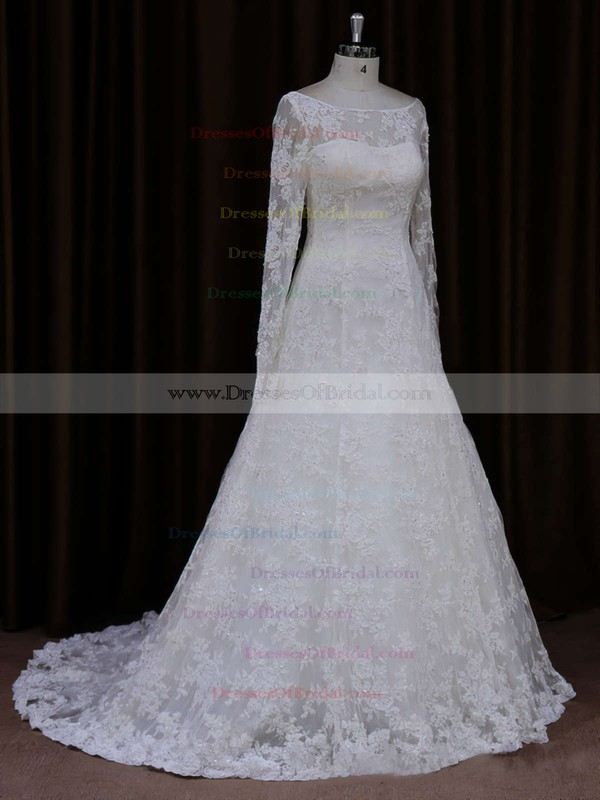 Ivory Lace Beading A-line Scoop Neck Long Sleeve Wedding Dresses #DOB00021634