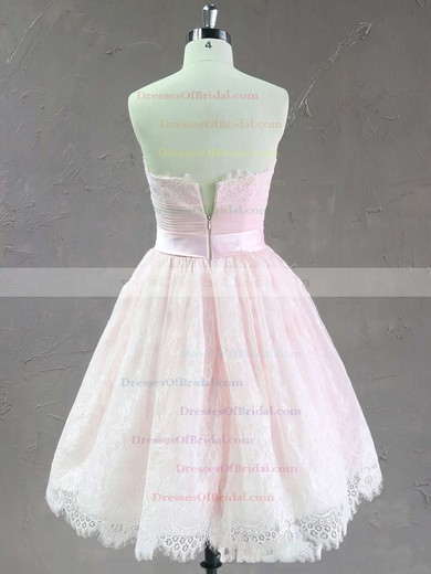 Pretty Pink Lace with Bow Strapless Short/Mini Wedding Dresses #DOB00021635