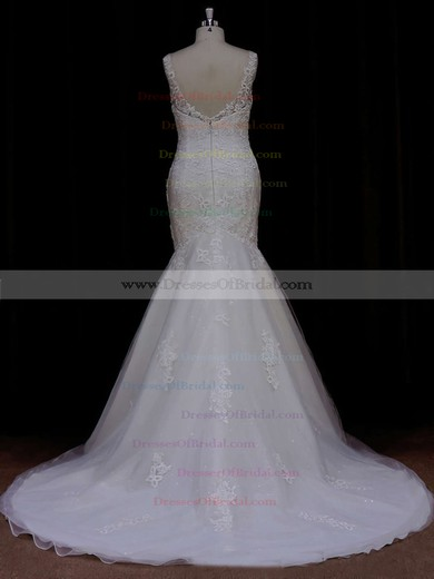 Trumpet/Mermaid Ivory Tulle Appliques Lace Scoop Neck Open Back Wedding Dresses #DOB00021638