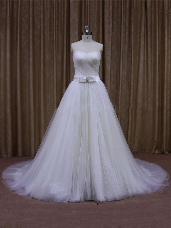 Designer Ivory Tulle Sweetheart with Sashes/Ribbons Chapel Train Wedding Dresses #DOB00021640