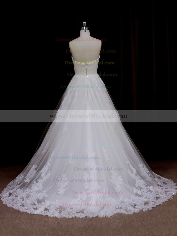 Backless A-line Ivory Tulle Beading Sweetheart Best Wedding Dresses #DOB00021641
