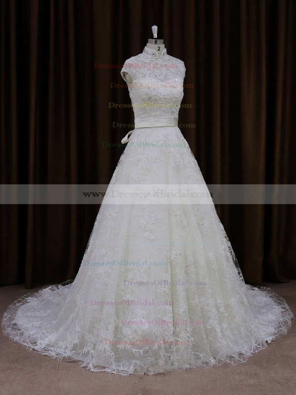 Unique Ivory Lace Sashes/Ribbons Court Train High Neck Wedding Dresses #DOB00021642