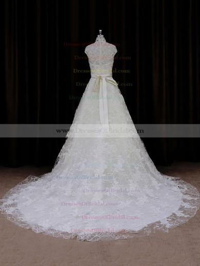 Unique Ivory Lace Sashes/Ribbons Court Train High Neck Wedding Dresses #DOB00021642