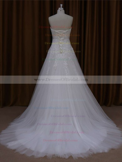 Sweetheart Tulle Appliques Lace Court Train Elegant Ivory Wedding Dresses #DOB00021643