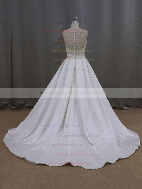 Ivory Scoop Neck Satin with Beading Court Train Modern Wedding Dresses #DOB00021645