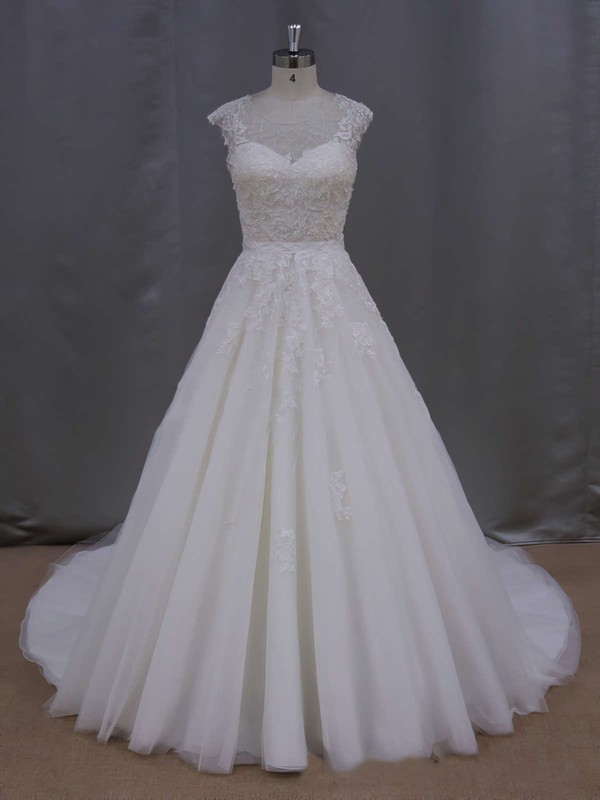 Custom Tulle Appliques Lace Scoop Neck Ivory Ball Gown Wedding Dresses #DOB00021646