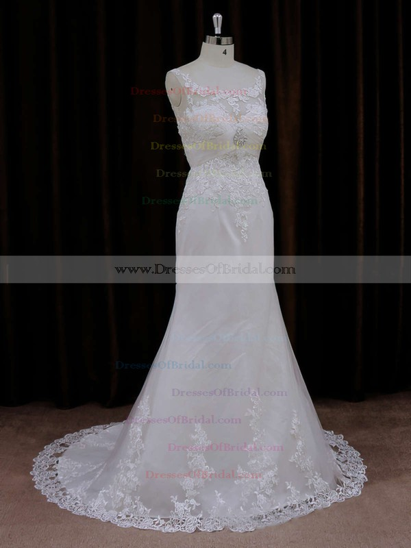 Different Trumpet/Mermaid Scoop Neck Tulle Appliques Lace Ivory Wedding Dresses #DOB00021647