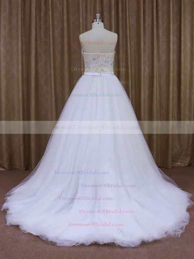 Sweep Train Tulle Sashes/Ribbons Top Sweetheart White Wedding Dresses #DOB00021651