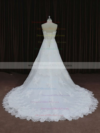 Ivory Tulle with Appliques Lace Court Train Lace-up Strapless Wedding Dress #DOB00021652