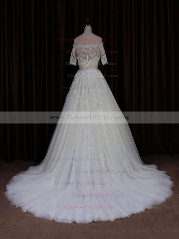 Hot Off-the-shoulder Ivory Tulle Appliques Lace Short Sleeve Wedding Dress #DOB00021654
