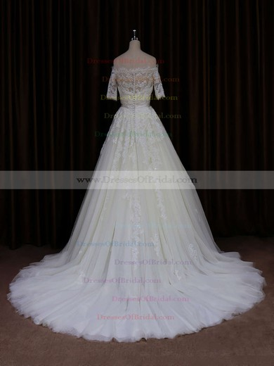 Hot Off-the-shoulder Ivory Tulle Appliques Lace Short Sleeve Wedding Dress #DOB00021654