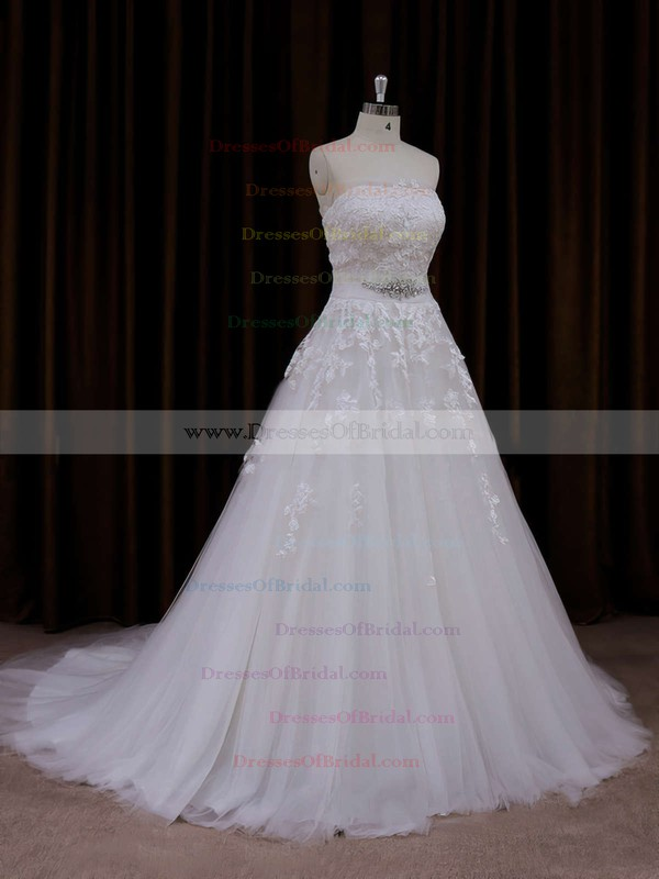 Strapless Tulle Appliques Lace Court Train Ivory Amazing Wedding Dress #DOB00021660