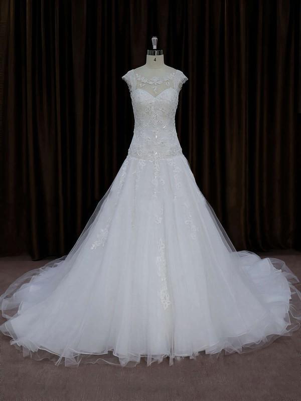 Chapel Train Ivory Tulle Appliques Lace Cap Straps Gorgeous Wedding Dress #DOB00021664