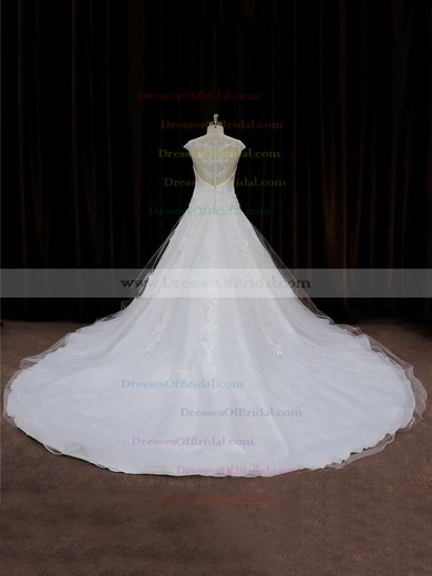 Chapel Train Ivory Tulle Appliques Lace Cap Straps Gorgeous Wedding Dress #DOB00021664